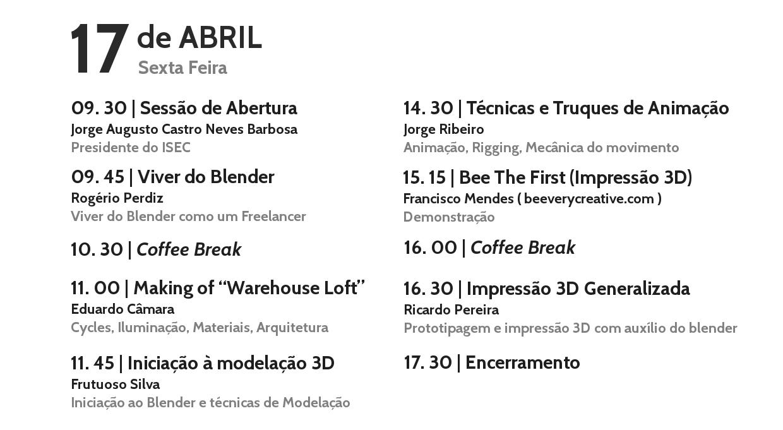 Programa Encontros BlenderPT 2015